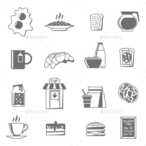 Breakfast Black White Icons Set