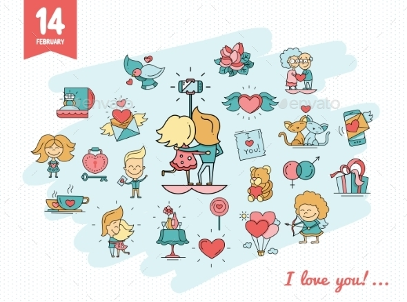 Flat Design Valentines Day Love and Romance Icons