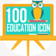 100 Education Flat Icons - GraphicRiver Item for Sale