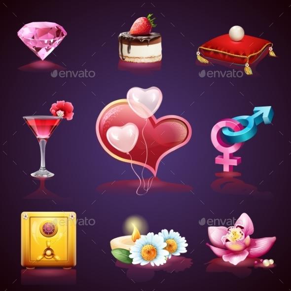 Valentines Day Set of Romantic Elements