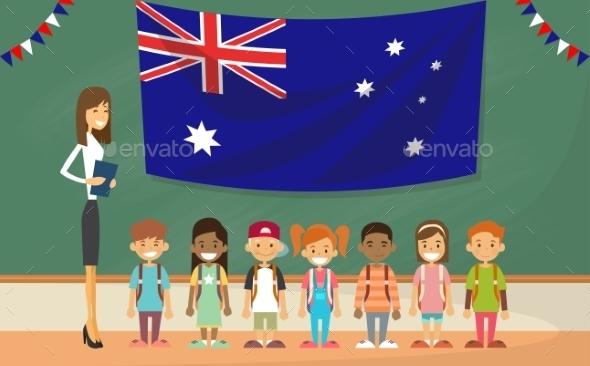 Teacher School Holding Australia Flag Children