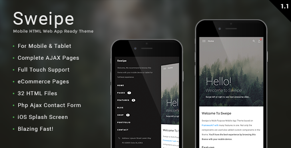 Sweipe - Mobile HTML Web App Ready Template