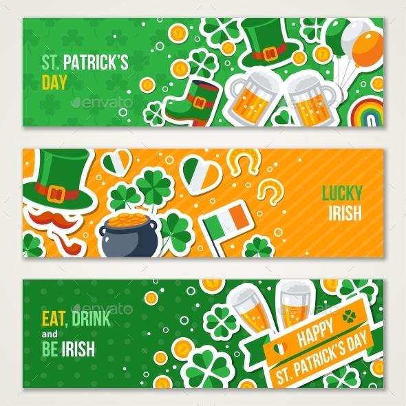 Horizontal Saint Patricks Day Banners Set
