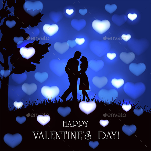 Blue Valentines Background with Hearts and Couple