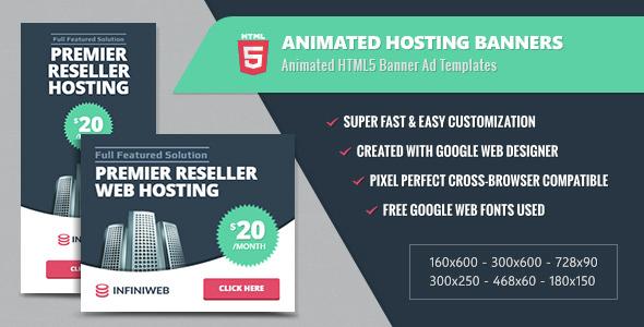 Animated Hosting Banners - HTML5 Google Web Designer Download