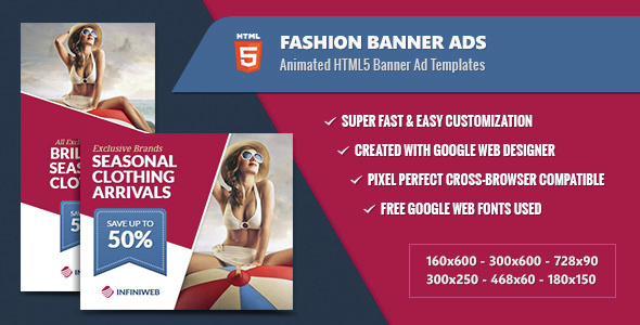 Fashion Banner Ads - Animated HTML5 Templates GWD Download