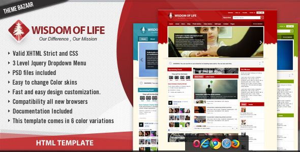 Wisdom of Life - HTML Template + PHP Contact Form