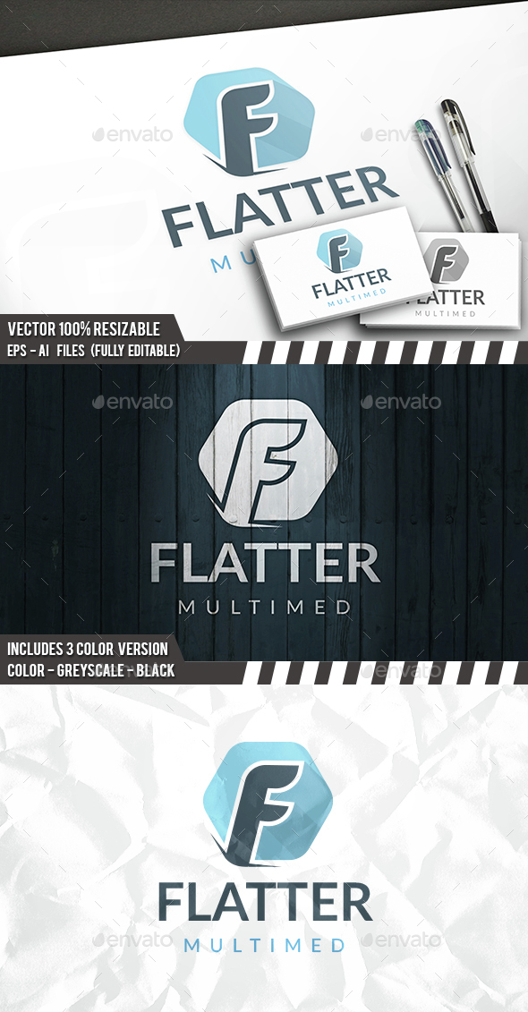 Flat F Letter Logo