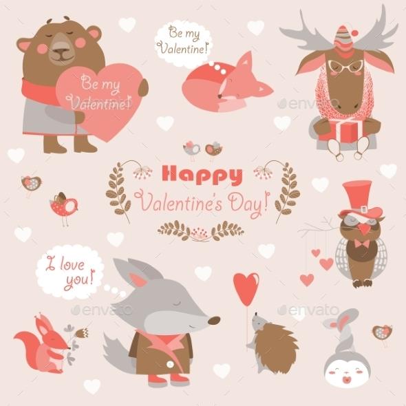 Valentine Set Of Fun Animals With Hearts
