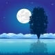 Moon Riverside Night - GraphicRiver Item for Sale