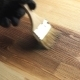 Man Painting Wooden Floor Mordant Brushing - VideoHive Item for Sale