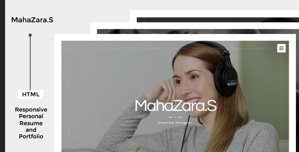 MahaZara.S HTML Personal Resume and Portfolio