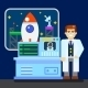 Scientist With Spaceship - GraphicRiver Item for Sale