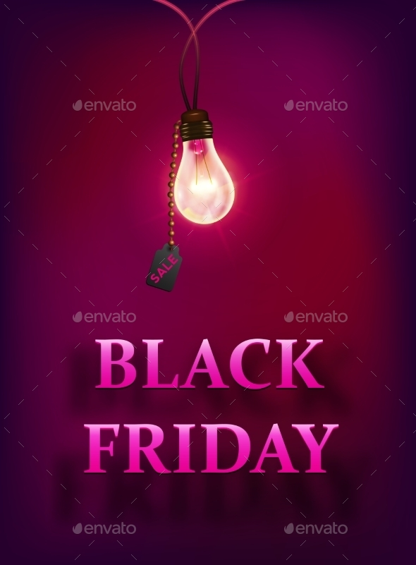 Black Friday Sale Background with Lamp