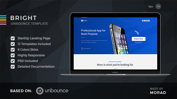Bright - Unbounce Startup Landing Page