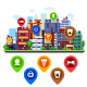 Cityscape With Different Map Pins. - GraphicRiver Item for Sale