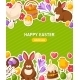 Happy Easter Vertical Banner With Flat Stickers - GraphicRiver Item for Sale