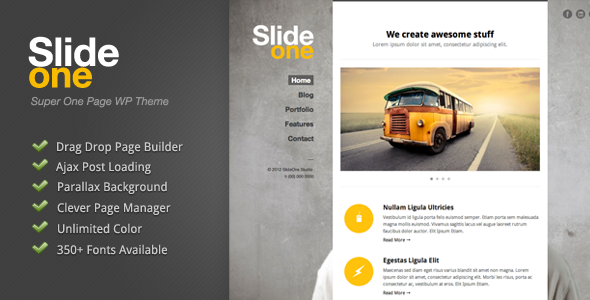 Slide One - One Page Parallax, Ajax WP Theme Download