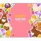 Happy Easter Pink Banner with Flat Stickers - GraphicRiver Item for Sale