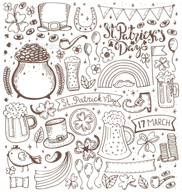 Set of St Patricks Day Sketch Elements