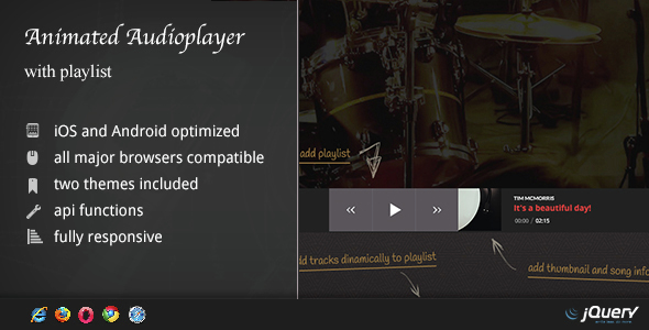 Animated Audio Player with Playlist