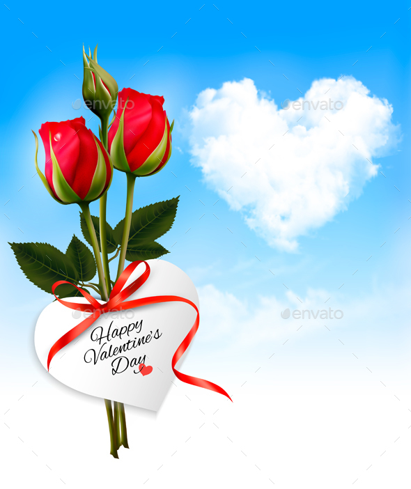 Valentines Day Background With A Bouquet  Vector