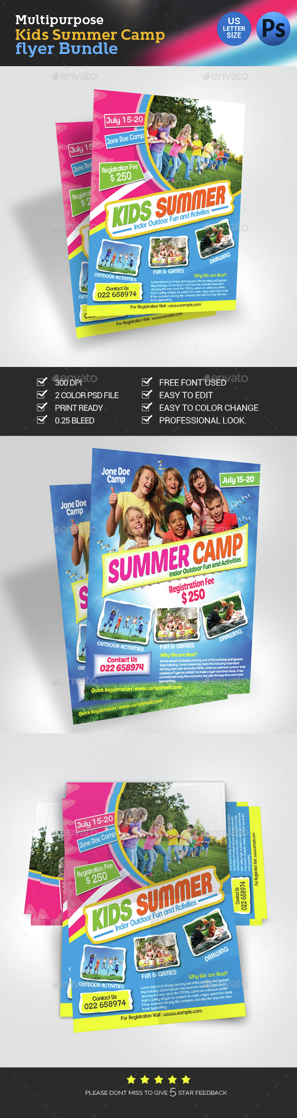 Kids Summer Camp Stationery And Design Templates