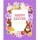 Easter Banner With Flat Icons And Square Frame - GraphicRiver Item for Sale