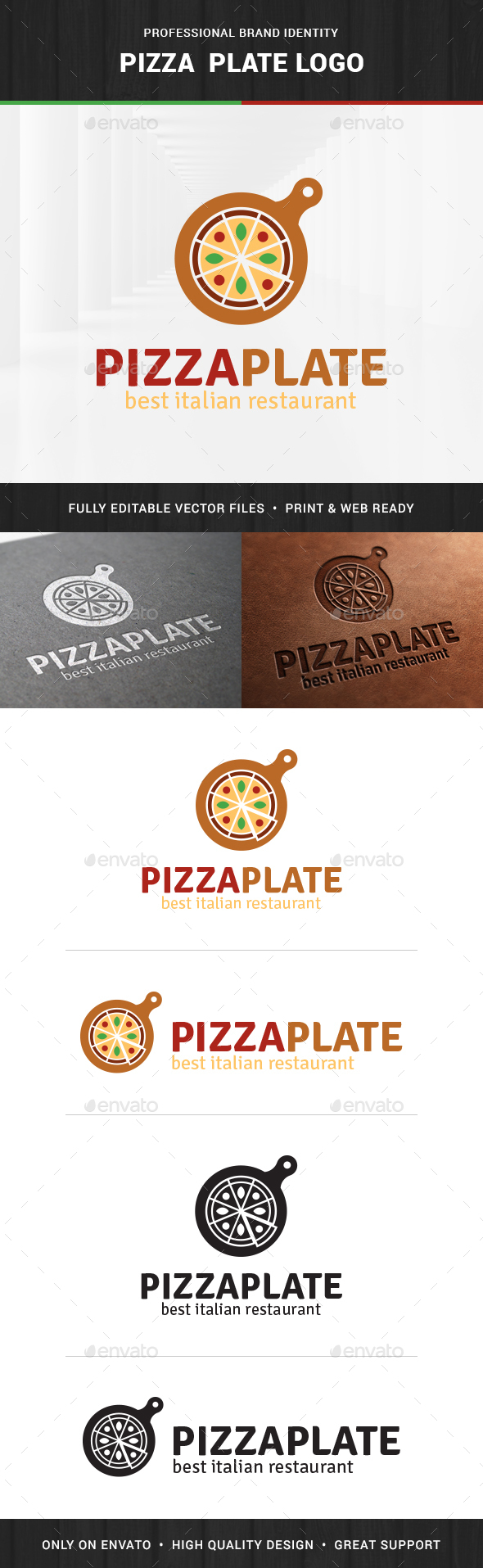 Pizza Plate Logo Template
