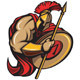 Spartan Trojan Mascot Vector Cartoon with Spear an - GraphicRiver Item for Sale