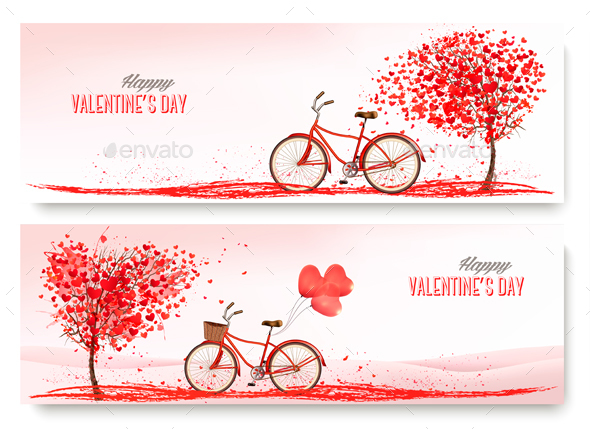 Holiday Valentine Banners. Vector