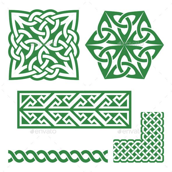 Celtic Irish Green Patterns and Knots