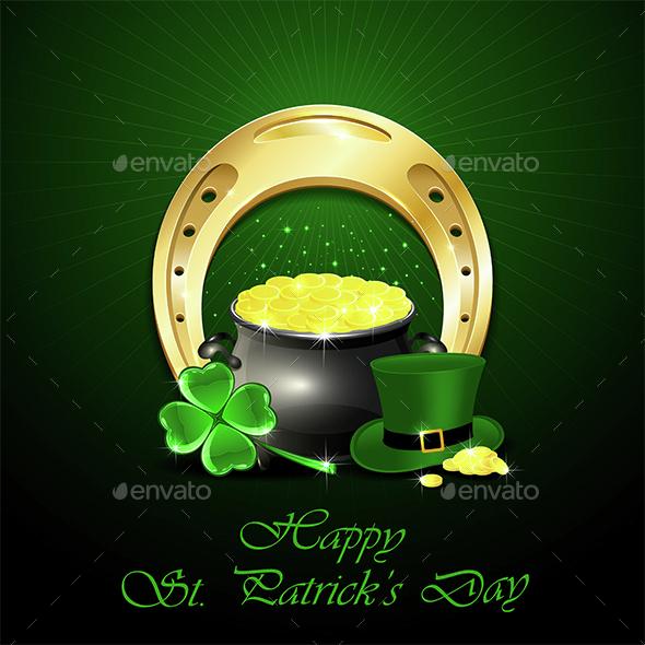 Patricks Day Background with Golden Horseshoe