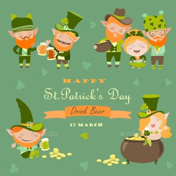 St. Partick Day With Leprechaun