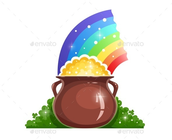 Kettle with Gold and Rainbow for Saint Patrick's