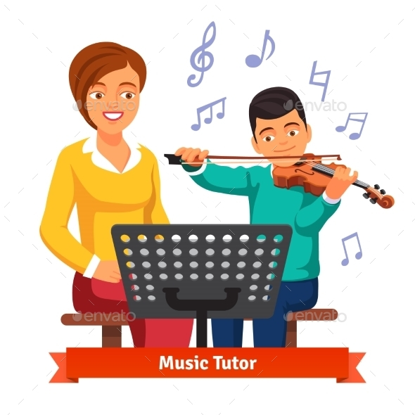Musical Tutor Woman with Violin Student