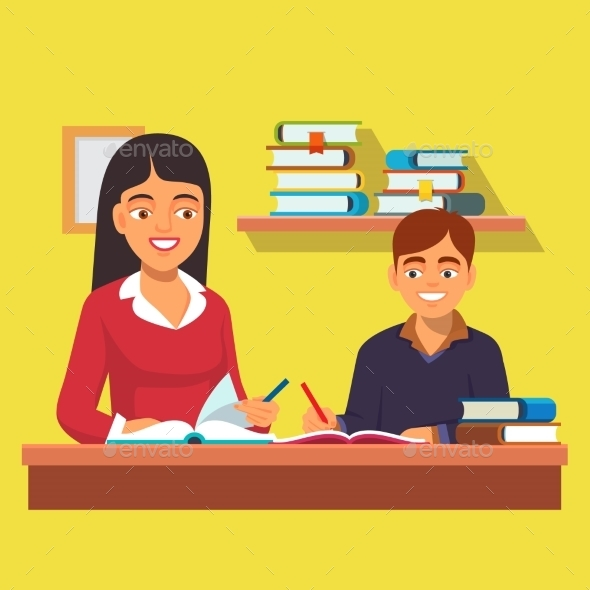 Woman Teacher Tutoring Boy at Home