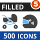 500 Vector Blue & Black Filled Icons Bundle