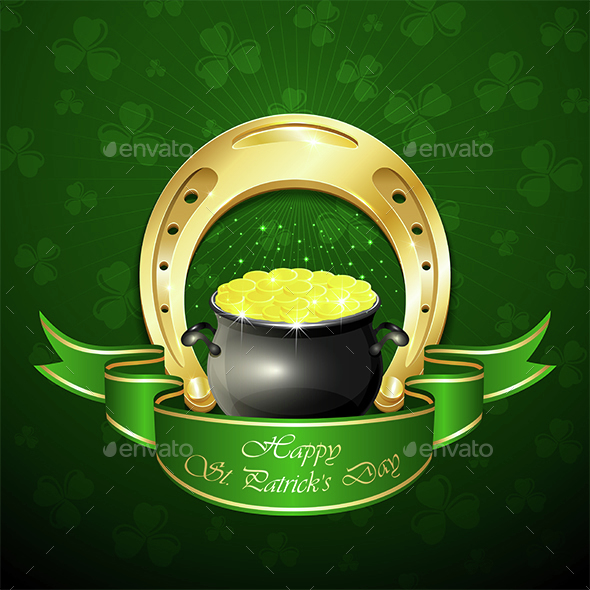 Patricks Day Background with Horseshoe and Pot