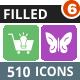510 Vector Round Corner Colorful Flat Icons Bundle