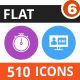 510 Vector Colorful Round Flat Icons Bundle