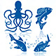 Sea Life and Fishes Icon Set - GraphicRiver Item for Sale