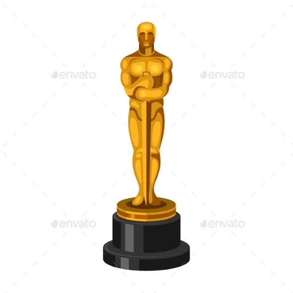 Golden Statue on White Background