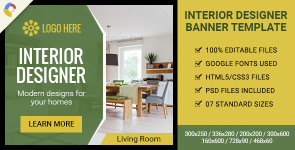GWD | Interior Designer HTML5 Ad Banner - 07 Sizes Download