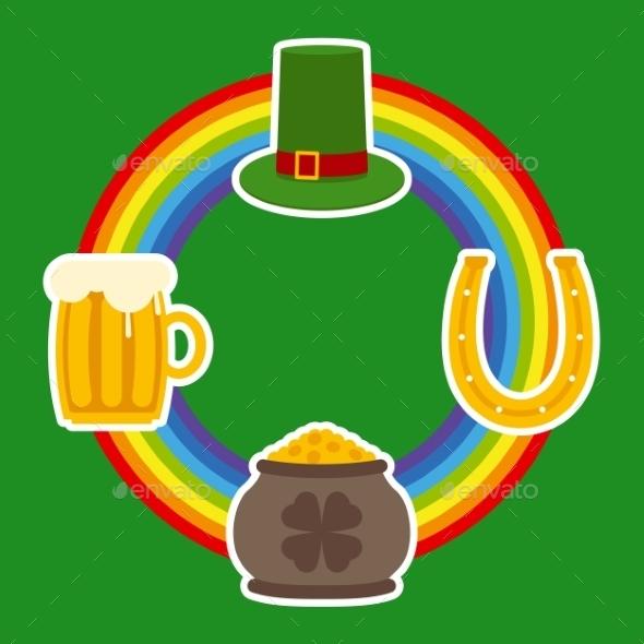 Patrick Day Symbols and Rainbow