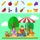 Summer Picnic Young Family with Dog - GraphicRiver Item for Sale