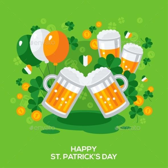Saint Patricks Day Banner with Irish Symbols