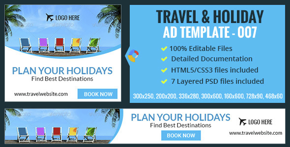 GWD | Travel & Vacation HTML5 Banners - 07 Sizes Download