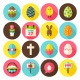 Happy Easter Vector Flat Icons - GraphicRiver Item for Sale