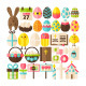 Easter Greeting Flat Isolated Objects - GraphicRiver Item for Sale